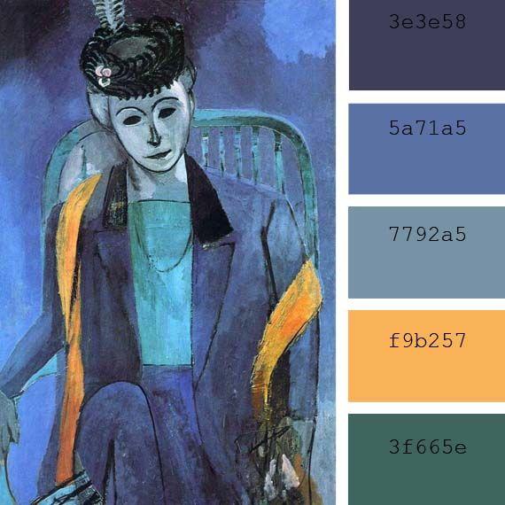 """paleta de colores azules del """"retrato de Mdme Matisse"""" de Henri Matisse"""