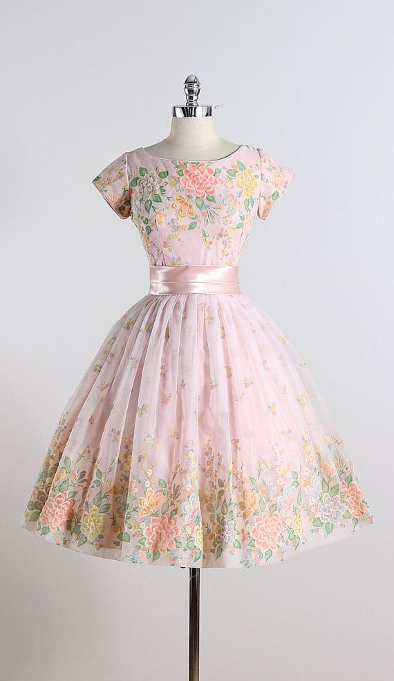 7ddbc36fd80 GARDEN CONFECTION ➳ vintage 1950s dress   pink chiffon   satin waist bow  accent   acetate   muslin lining   beautiful flocked floral print   metal  back ...