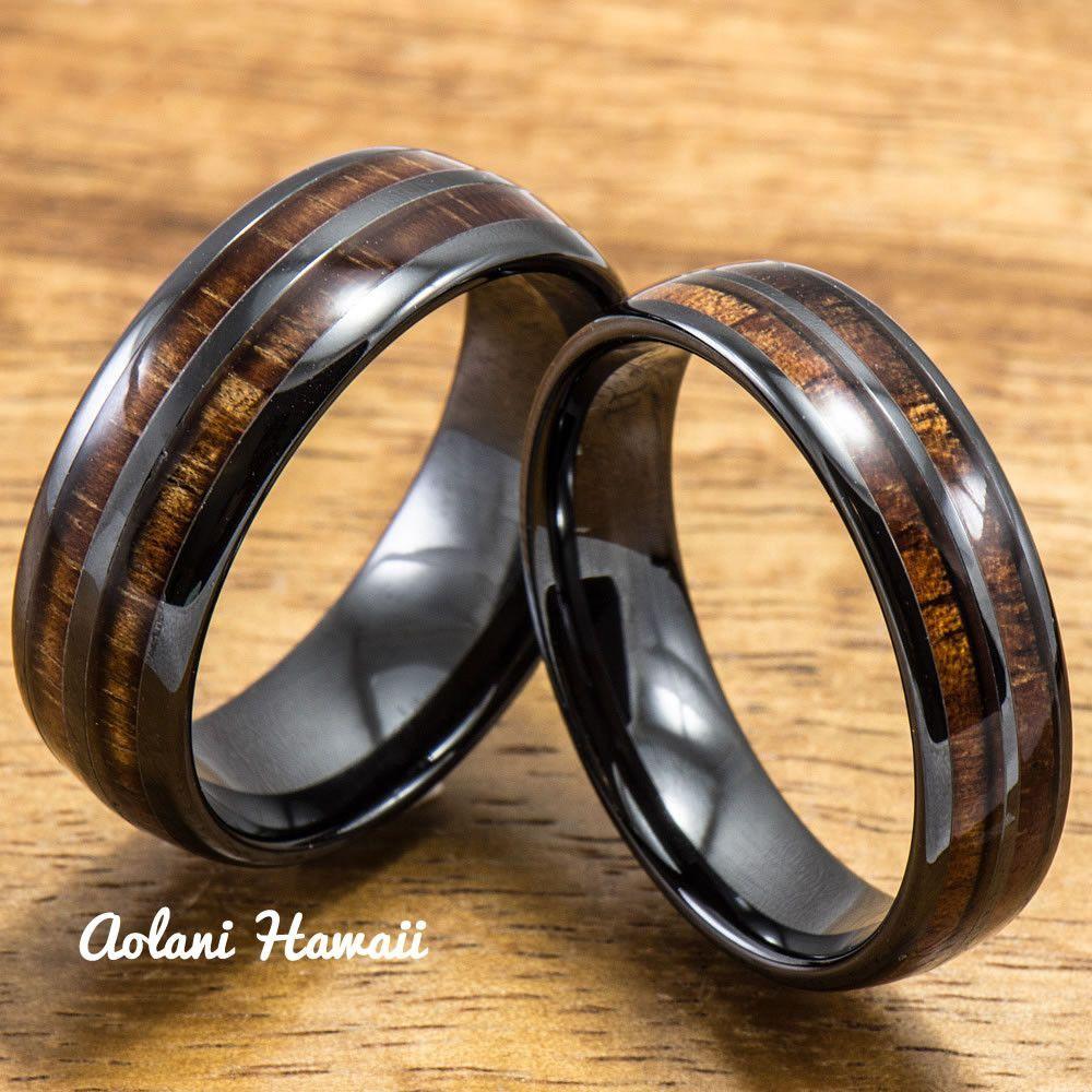 Ceramic ring with hawaiian koa wood mm mm width barrel style