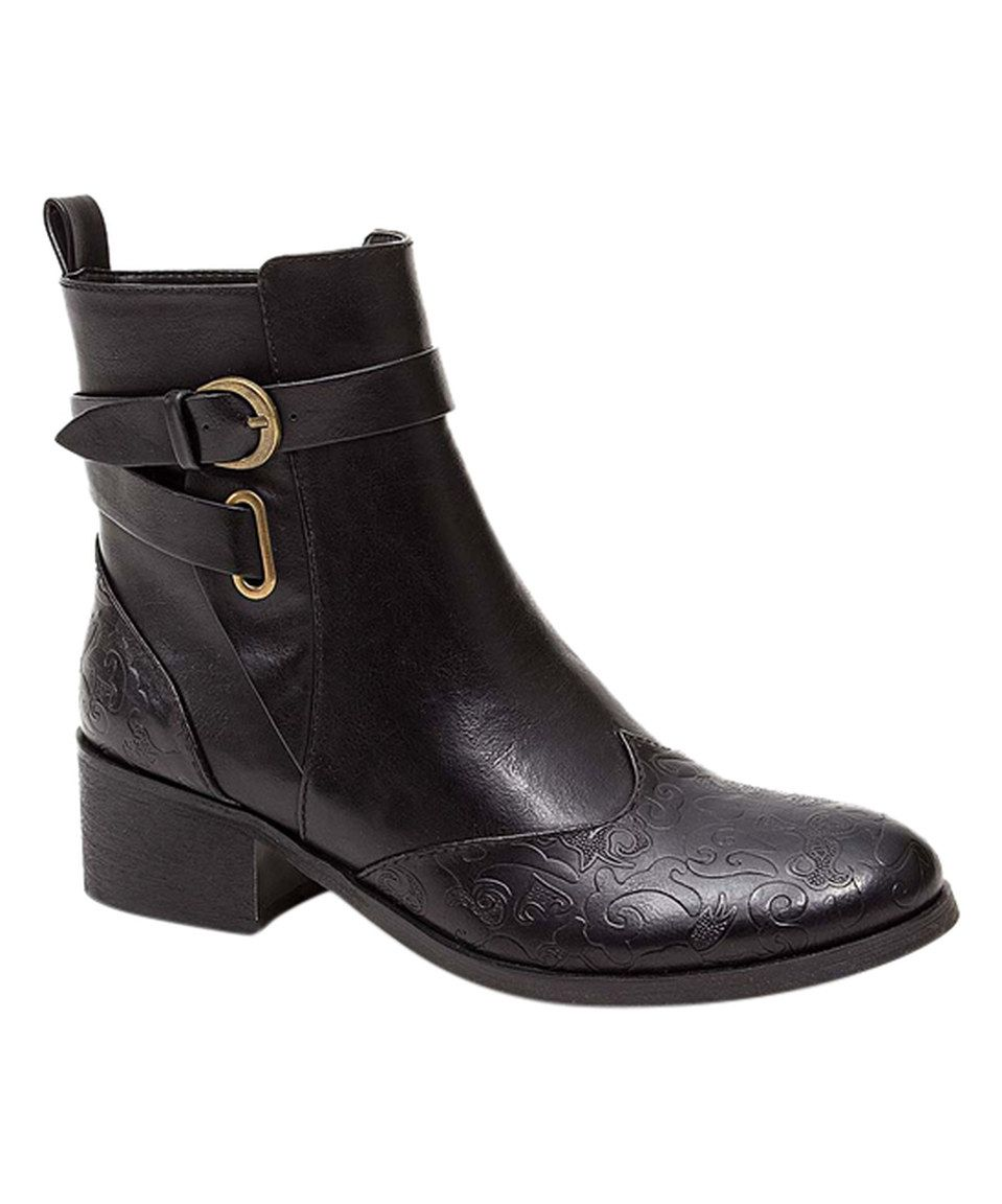 Another great find on #zulily! French Blu Black Double-Buckle Truffle Boot by French Blu #zulilyfinds