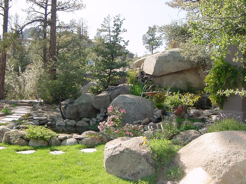 boulder waterfall and pond