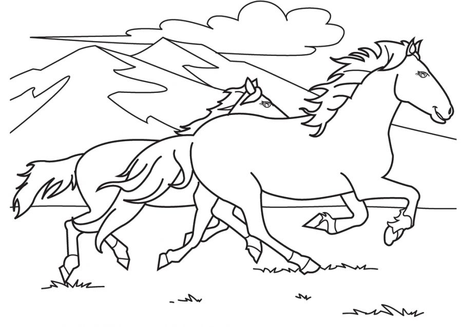 Horses running in savanna coloring pages online printable | Animal ...
