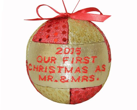 New 2015 Red and Gold First Christmas as Mr and Mrs Ornament