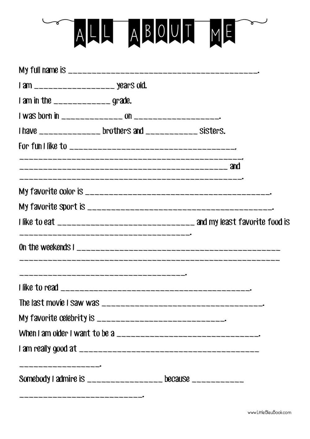 all about me esl worksheet little bleu book esl pinterest worksheets starting school. Black Bedroom Furniture Sets. Home Design Ideas