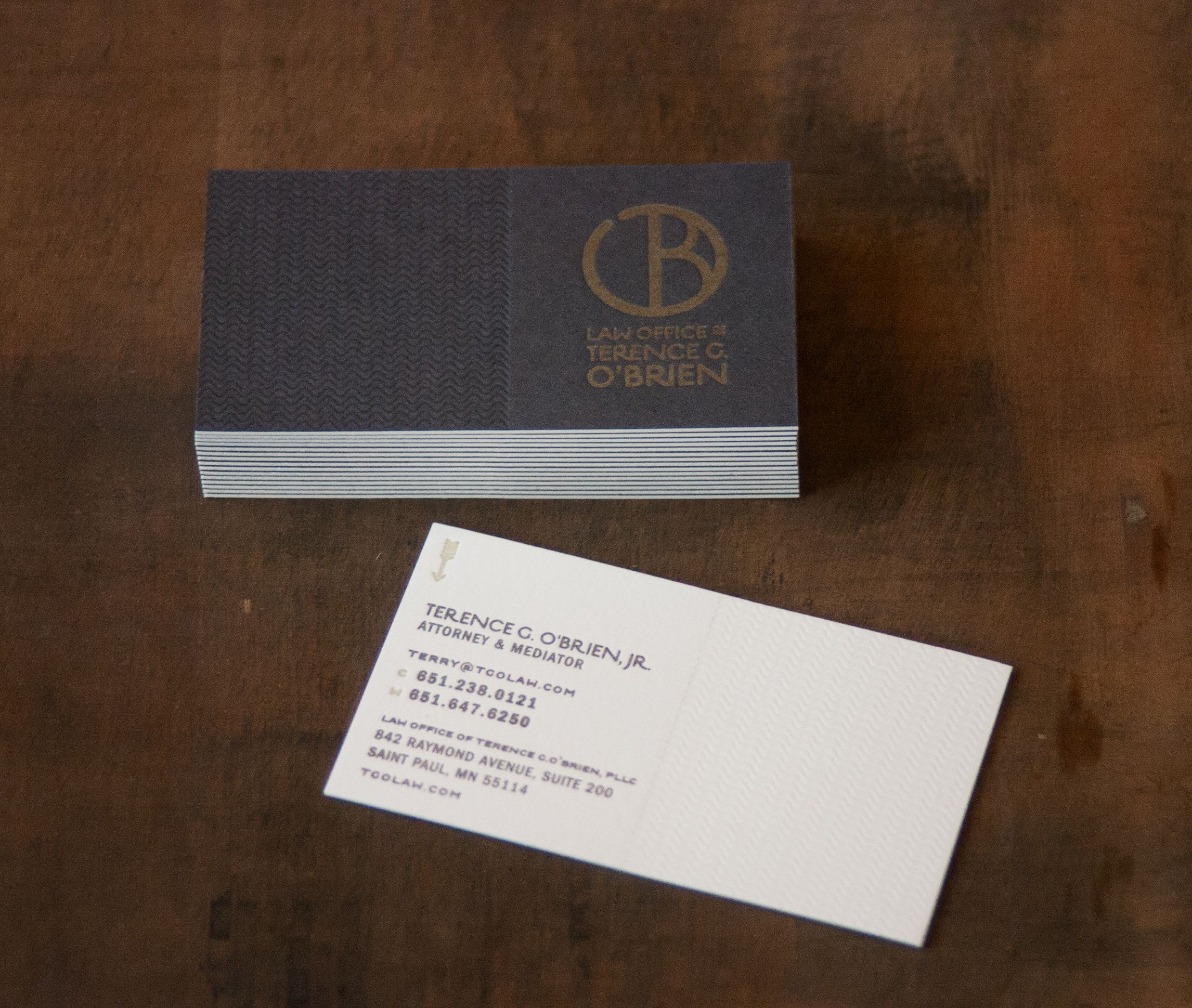 3 color letterpress business cards featuring custom mixed metallic ...