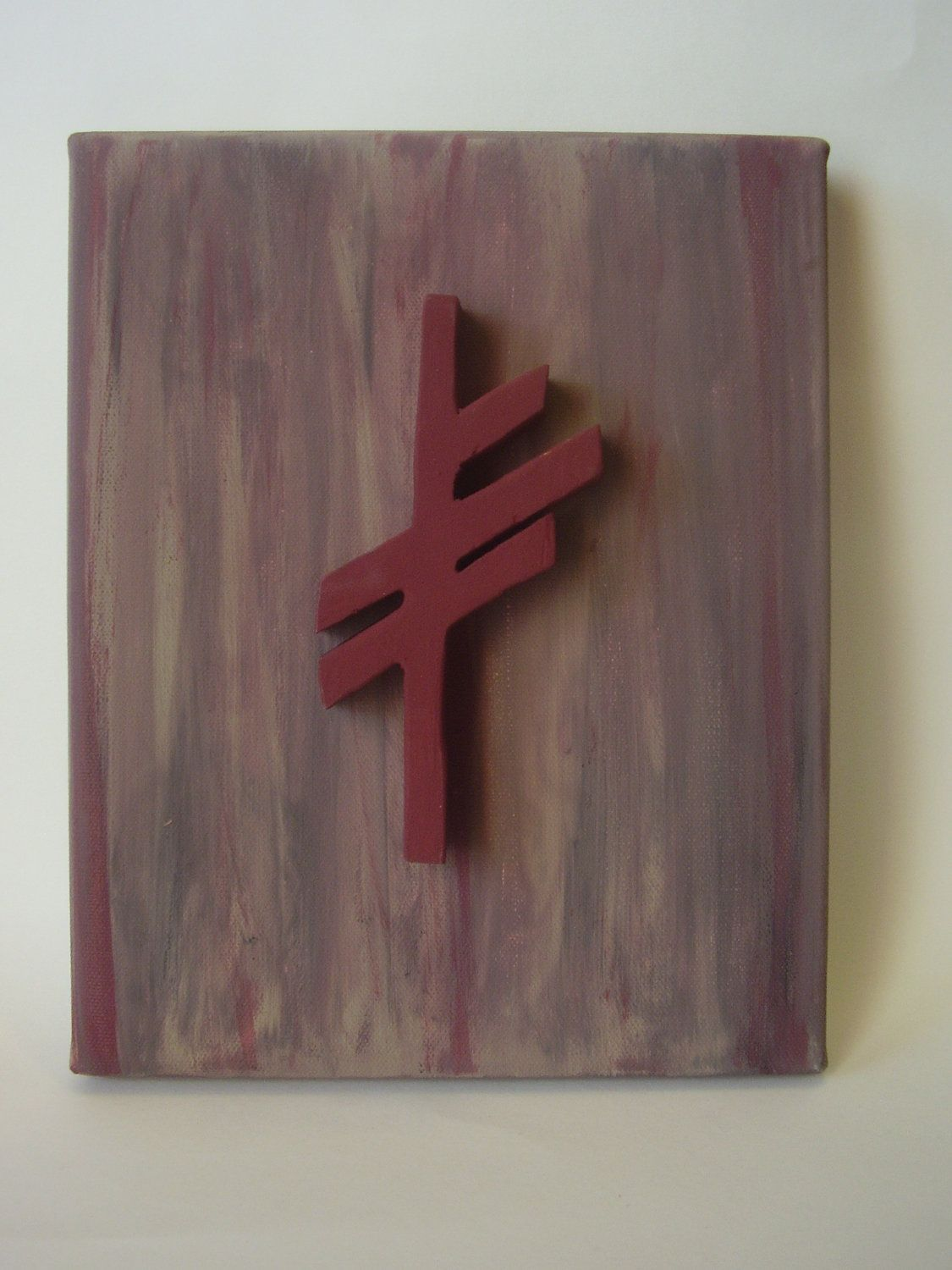 Wooden Viking Rune Symbol Of Luck On Canvas Norse Nordic