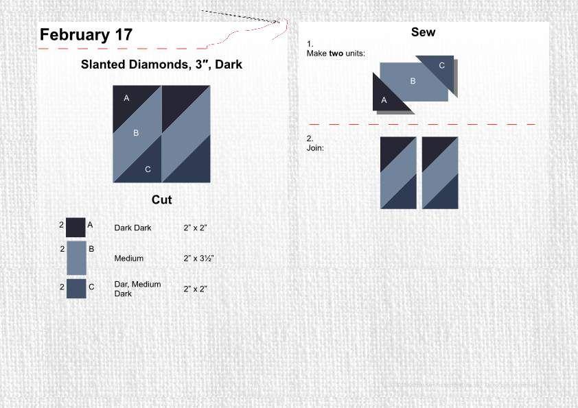 "February 17 Slanted Diamonds 3"" Dark"