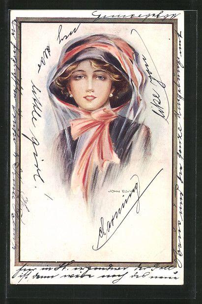 old postcard: Künstler-AK Bildnis einer schöne Frau mit Hut