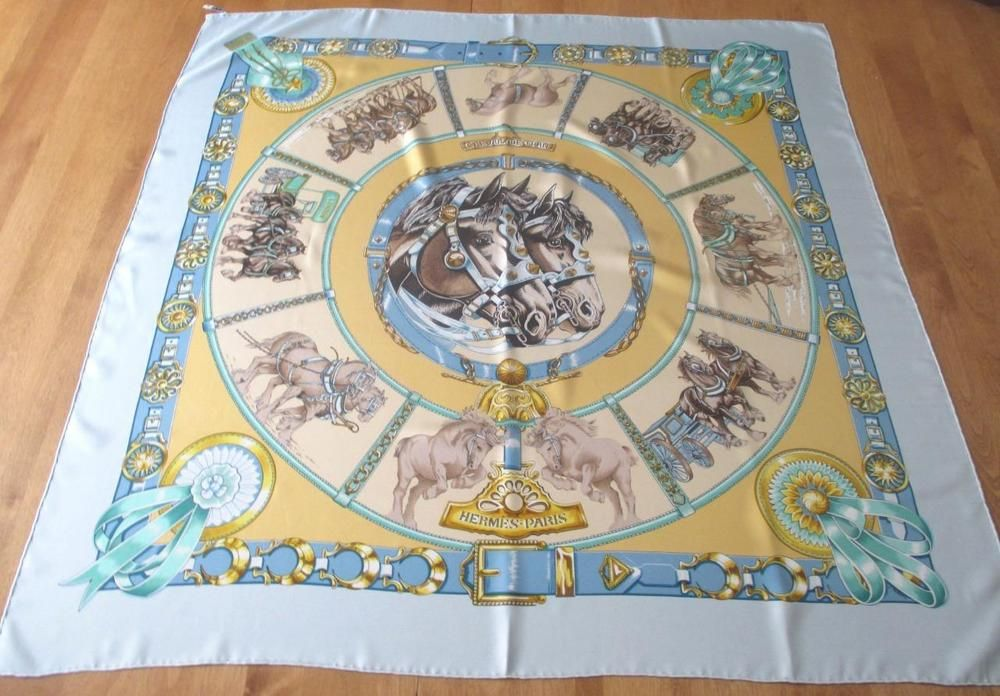 "Authentic HERMES Silk Scarf ""Cheveaux de Trait"" Workhorses Pale Blue Gold 35x35…"