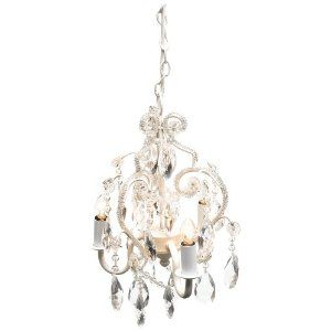 Tadpoles 3 Bulb Vintage Plug In or Hardwired Mini Chandelier, White Diamond