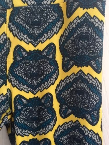 352e4dba815558 Just picked a pair of these up. Have no clue what to wear them with. LULAROE  WOLF WOLVES Leggings Yellow Blue Gray - Unicorn!