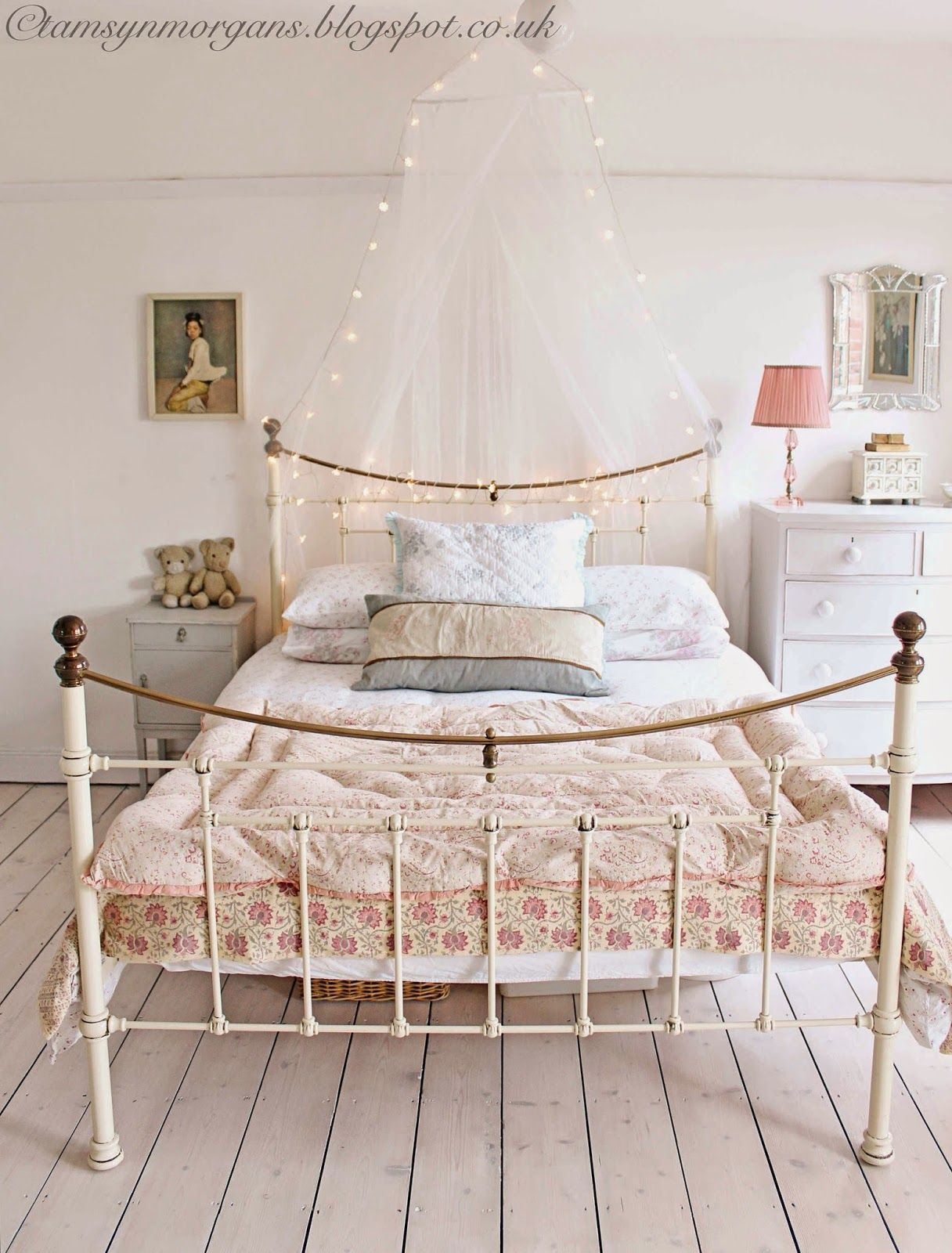 white cast iron bed . shabby chic bedroom for similar visit www
