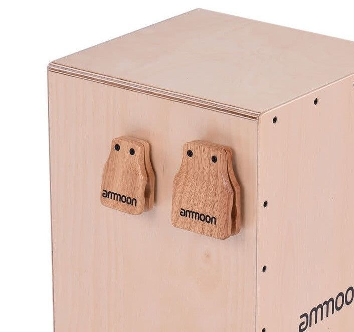 2pcs cajon box drum companion accessory castanets percussion genuine rubber wood ammoon. Black Bedroom Furniture Sets. Home Design Ideas