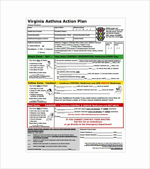 40 asthma Action Plan form | Communication plan template ...