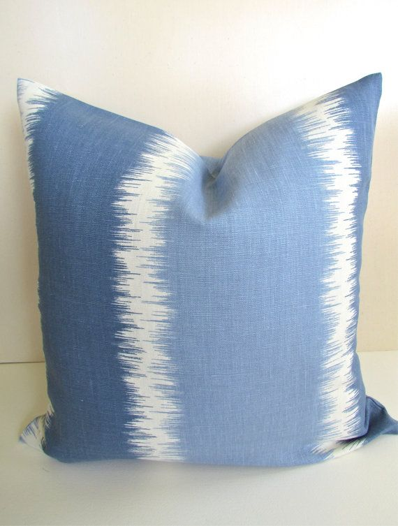 THROW PILLOW Covers 18x18 Aquamarine Blue Decorative Throw Pillows Designer Linen Ikat 18 x 18 ...