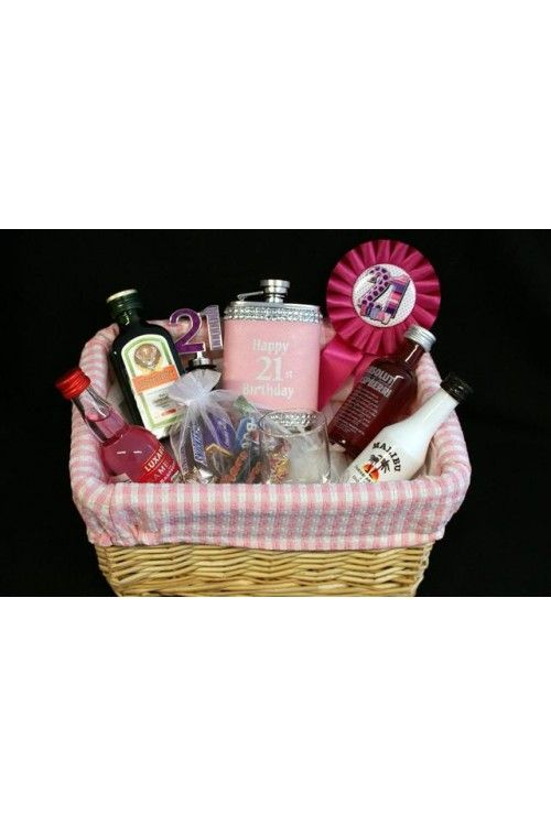 Personalised 21st Birthday Girls Alcohol Gift Basket