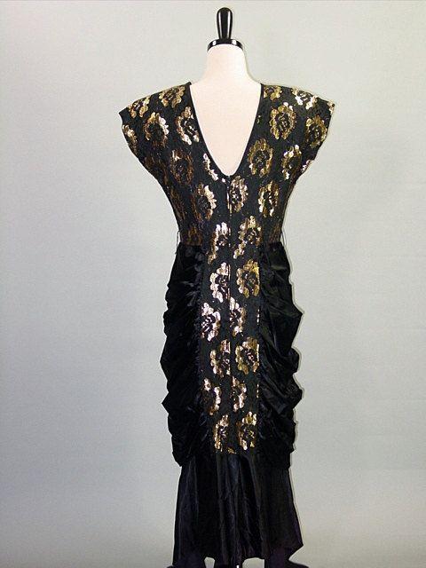 1980s GOLD MERMAID Dress / Black Lace by FlyAwayVintageShop,