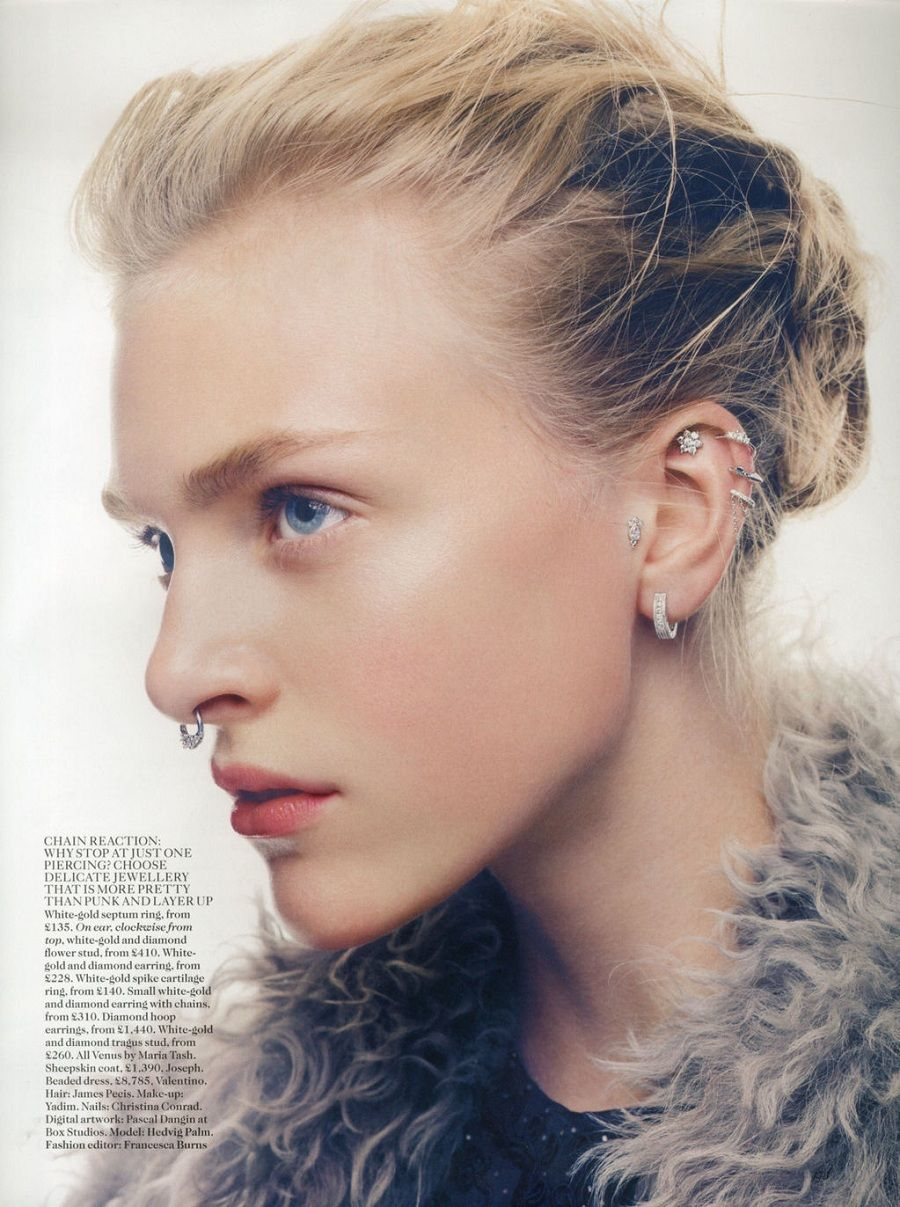 Nose piercing hole without ring  Holes in Oneud  Hedvig Palm  UK Vogue January   Patrick