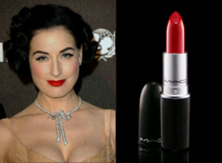 a3c619612e14 Dita Von Teese swears to MAC Cosmetics Matte Lipstick in Russian Red. I  wear this all the damn time