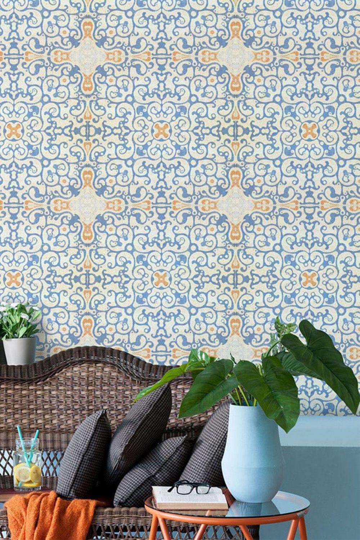 Spanish Tile Wallpaper Tile Wallpaper Spanish Tile Orange Wallpaper