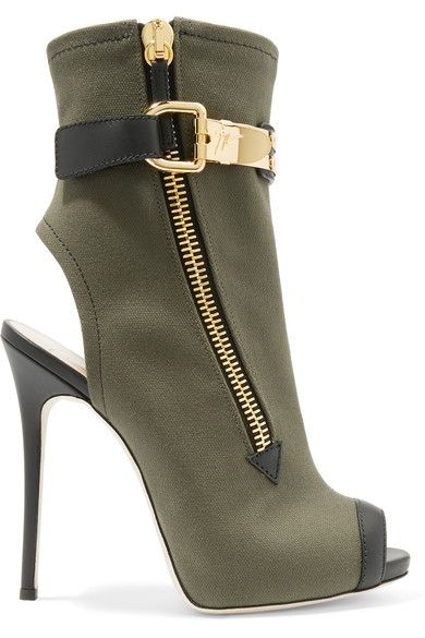 06384ed50d0 GIUSEPPE ZANOTTI Roxie leather-trimmed canvas ankle boots.  giuseppezanotti   shoes  boots