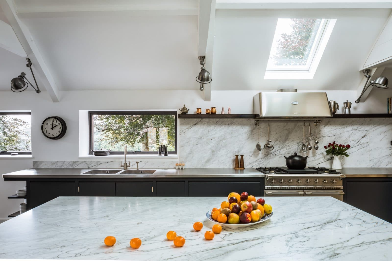 Steel and Marble Kitchen with Reclaimed Wood Feature | Range cooker ...