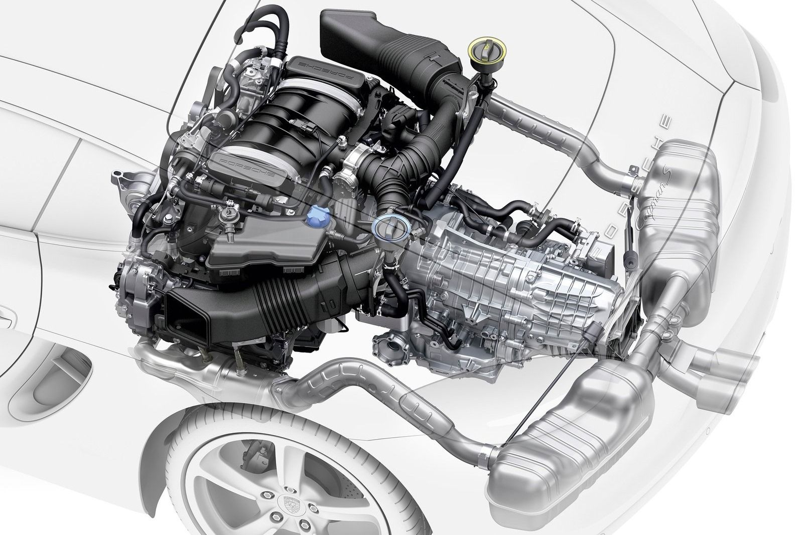 The new Porsche Boxster Flat 4 (not 6) cylinder turbo engine layout ...