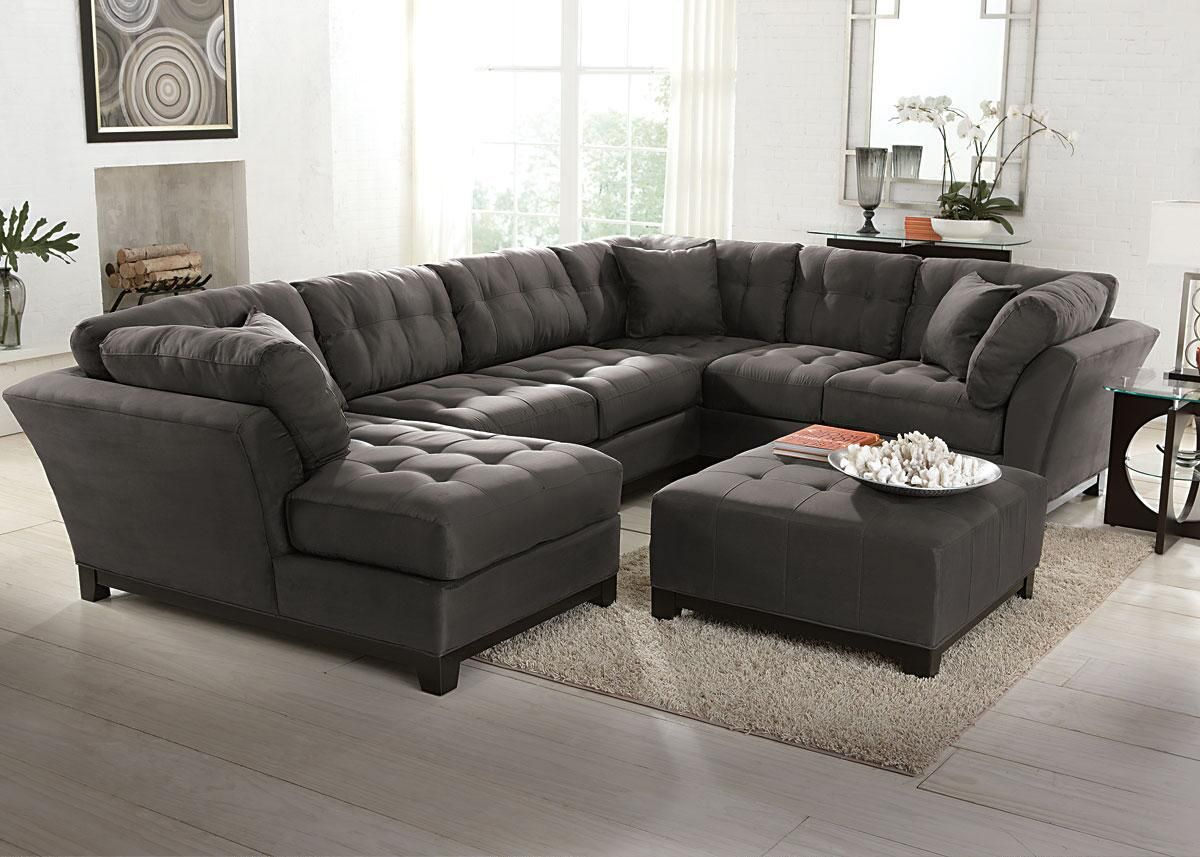 Brilliant Rendezvous Gray 4 Pc Sectional The Roomplace Living Theyellowbook Wood Chair Design Ideas Theyellowbookinfo