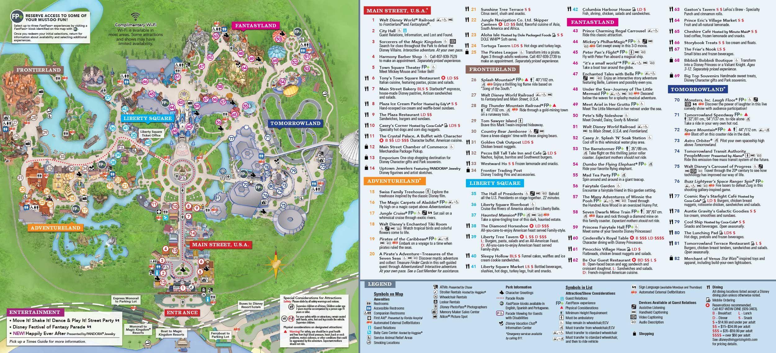 Este é o mapa do Magic Kingdom. A Enchanted Tales with Belle fica no Fantasyland, no número 47.