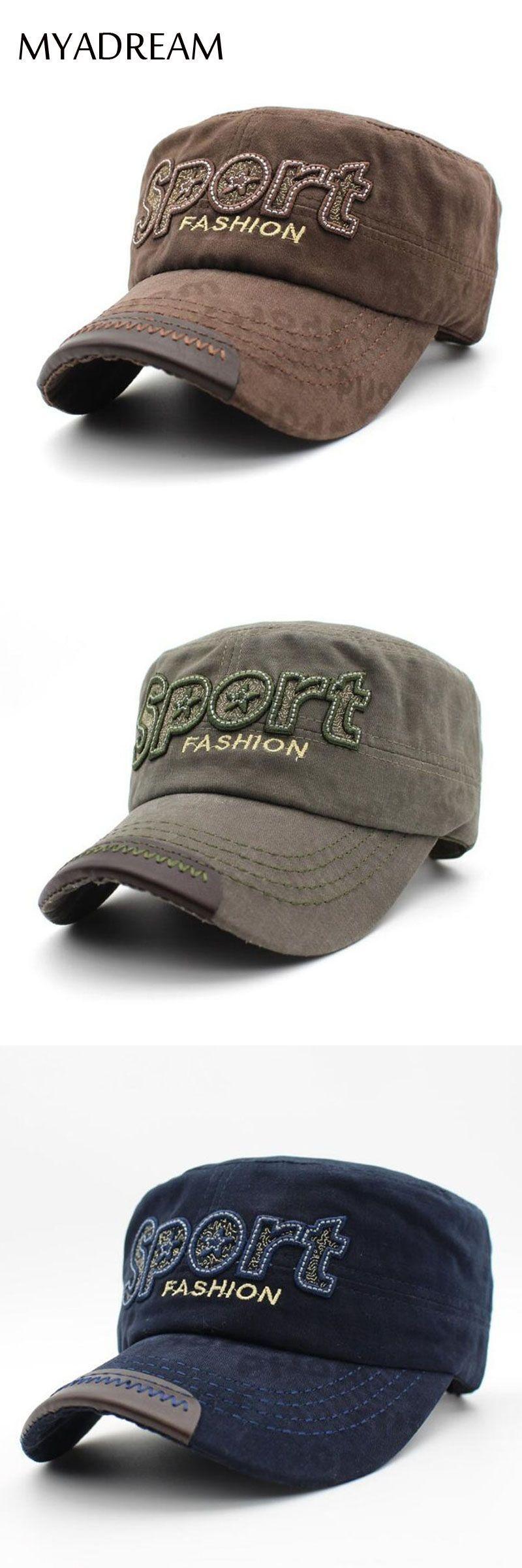 ff8dea220a5d8 MYADREAM SPORT Cotton Military Cap Unisex Military Hat for Women Men Flat  Top Black Army Green