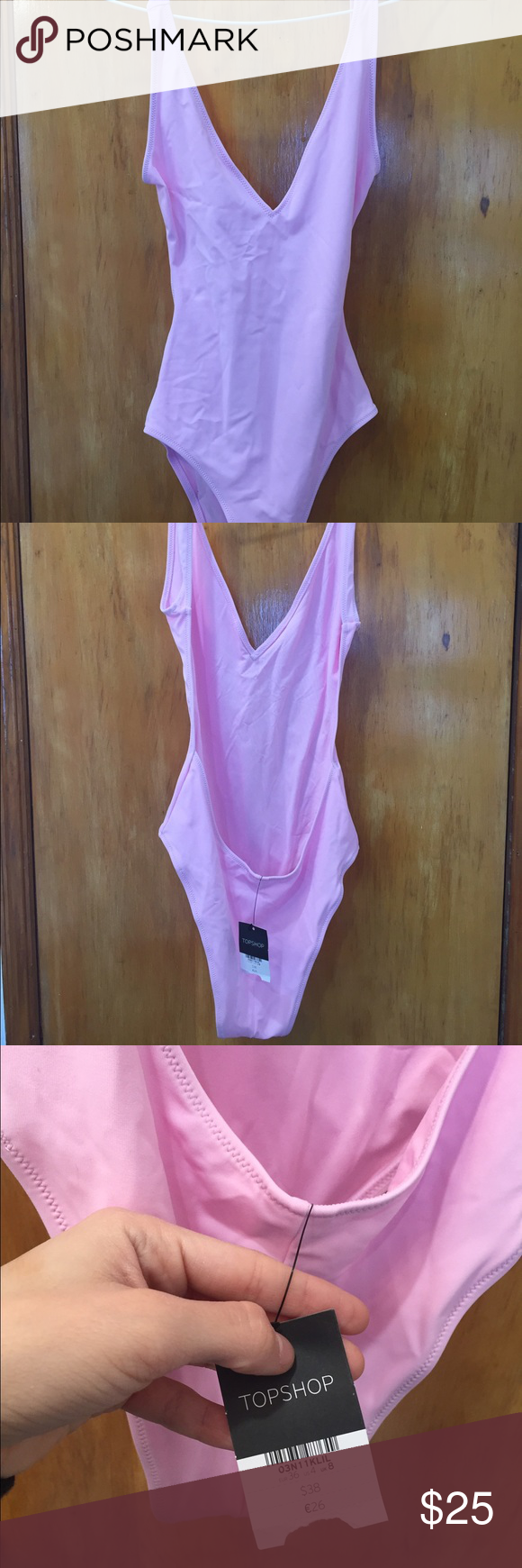 Topshop one piece swimsuit Brand new never worn one piece, baby pink color size US 4 Topshop Swim One Pieces