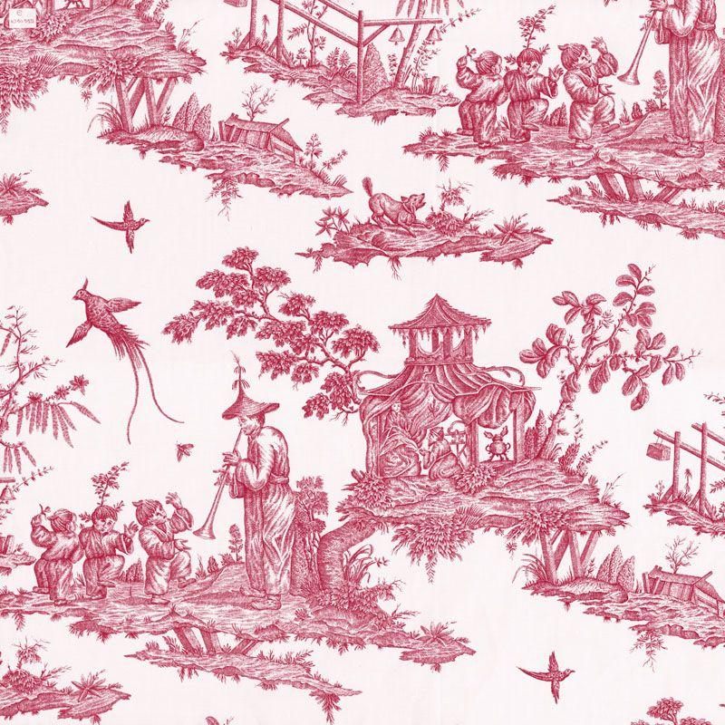 Toile de jouy la le on de danse framboise toile de jouy decorative pattern art - Papier peint toile de jouy ...