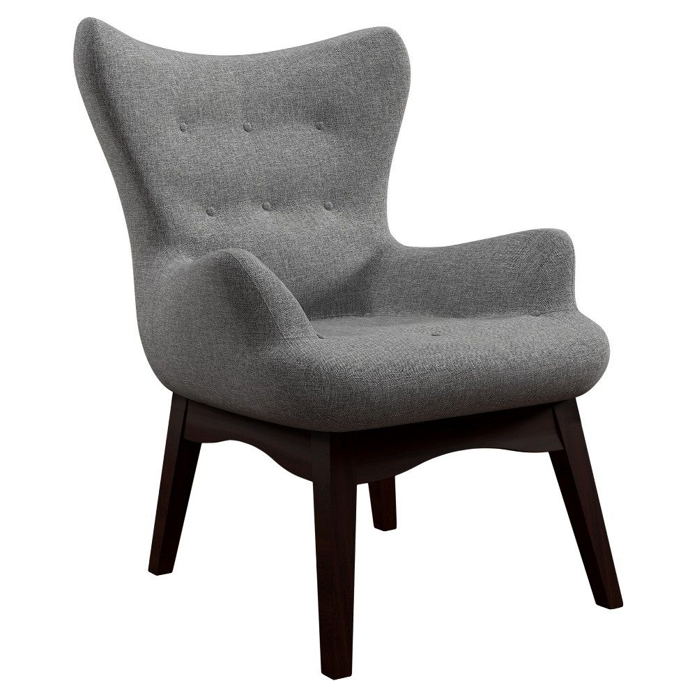Laramie Modern Contoured Wingback Button Tufted Accent Chair Smoke (Grey) -  Inspire Q