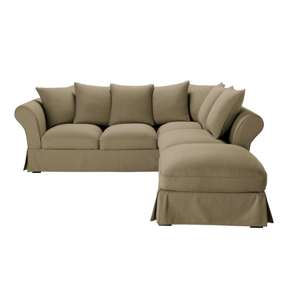 Eckcouch taupe  Ausziehbares Ecksofa 6-Sitzer aus Baumwolle, taupe   Deko   Pinterest