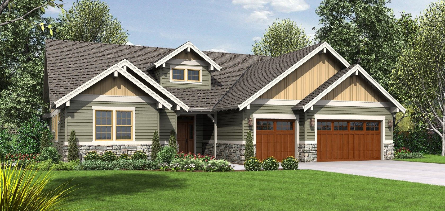 Mascord House Plan B1245c Craftsman House Craftsman House Plans Craftsman Ranch