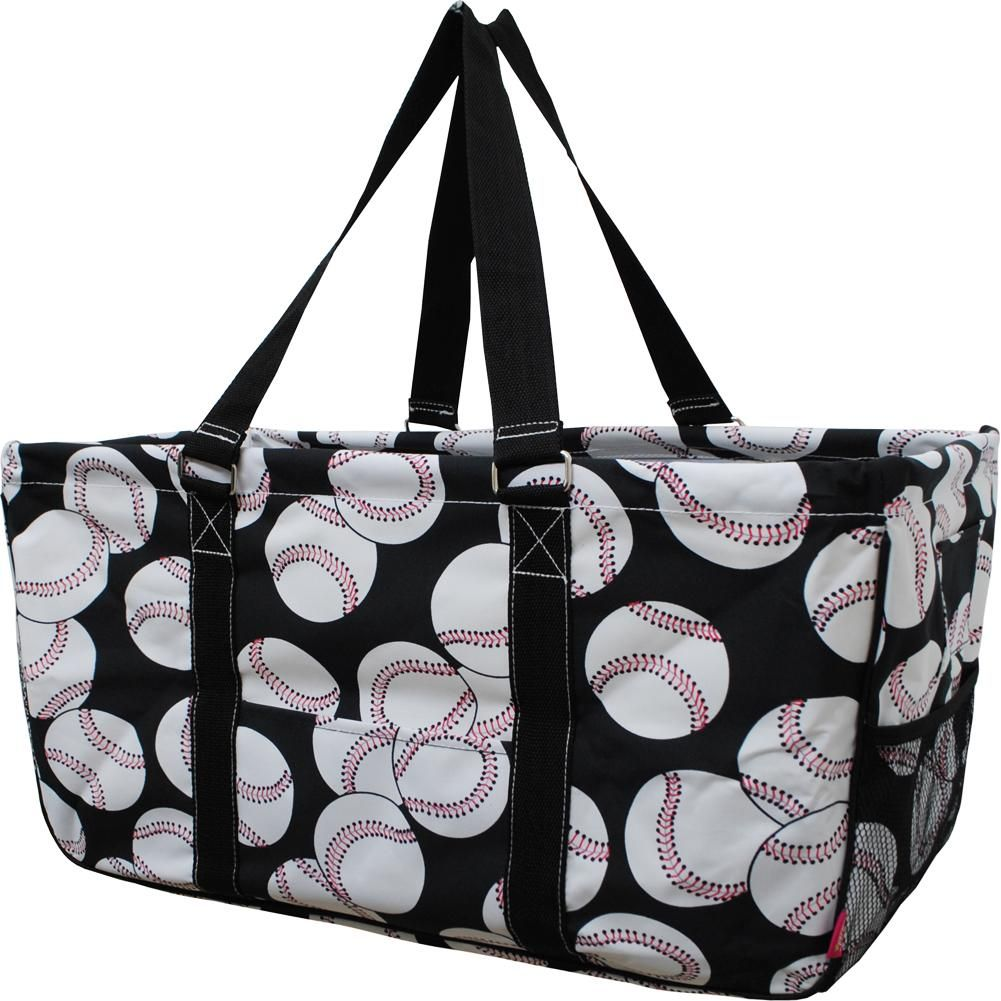 Baseball Print Utility Bag Blk Team Mom Gift Ideas Monogrammable Tote Duffle