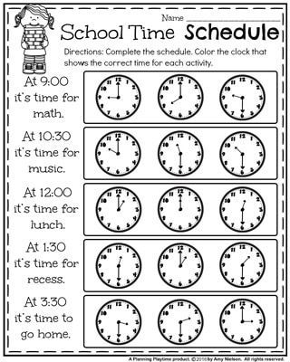 back to school first grade worksheets school time schedule telling time worksheet