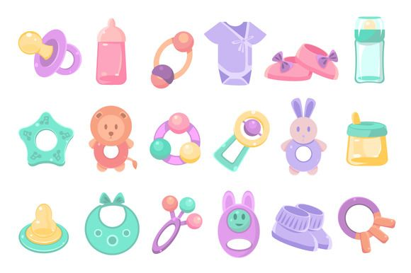 Baby accessories set by TopVectors on @creativemarket