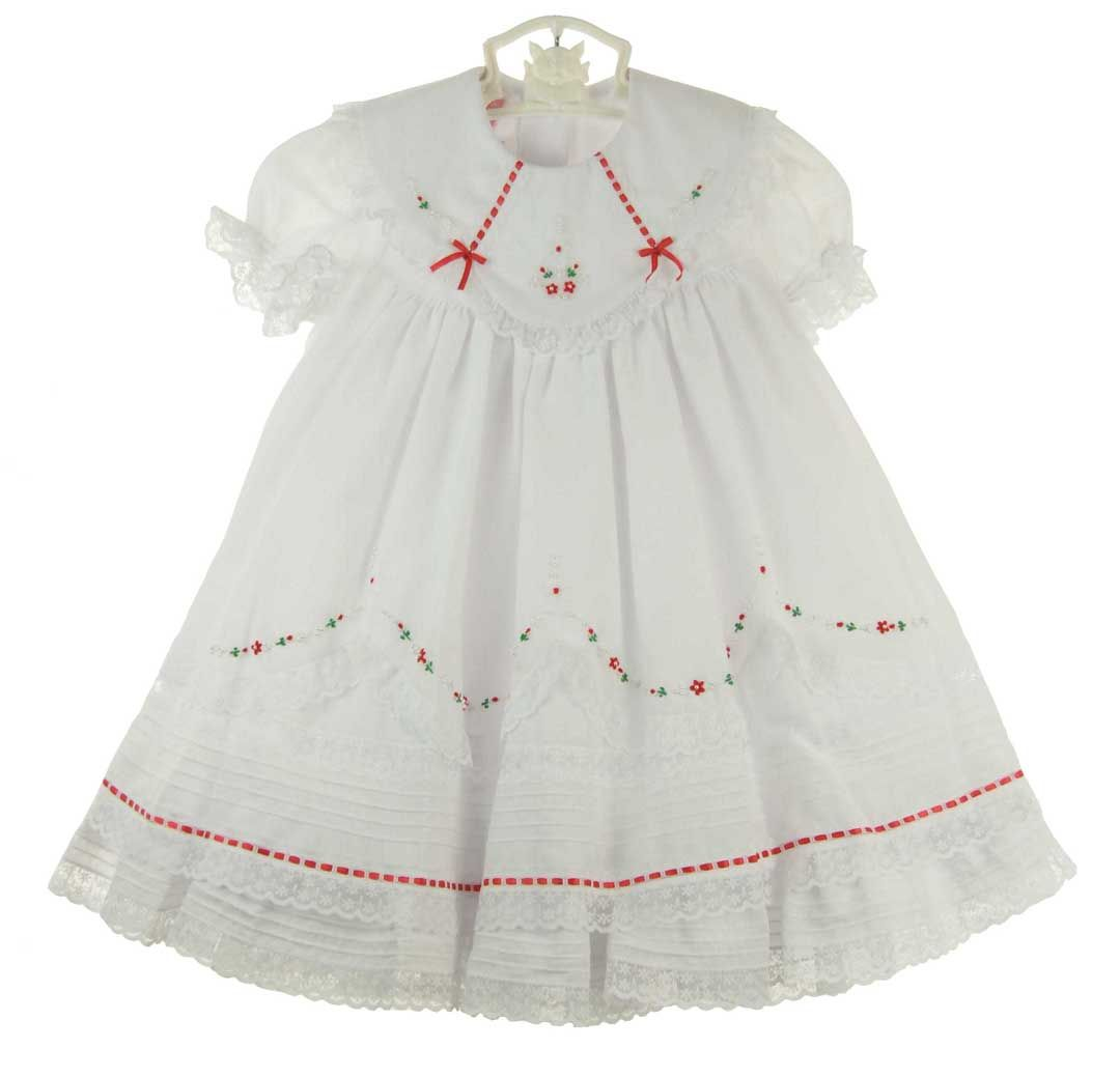 ff5d15f651e9 NEW Will'Beth White Ruffled Dress with Red Embroidered Flowers, Lace, Seed  Pearls, and Red Ribbon Insertion with Short Sleeves or Long Sleeves $80.00