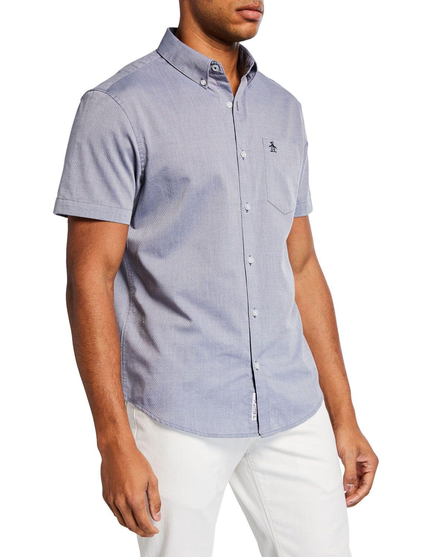 Men's Textured Shortsleeve Sport Shirt In Dark Blue