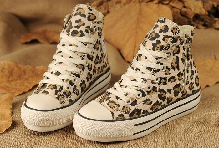 bed0ca2bb6e1 Converse All Star Platform Leopard Print Zipper Chuck Taylor High Tops  Womens Girls Beige Canvas Sneakers