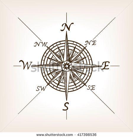 Compass rose sketch style raster illustration. Old engraving ...