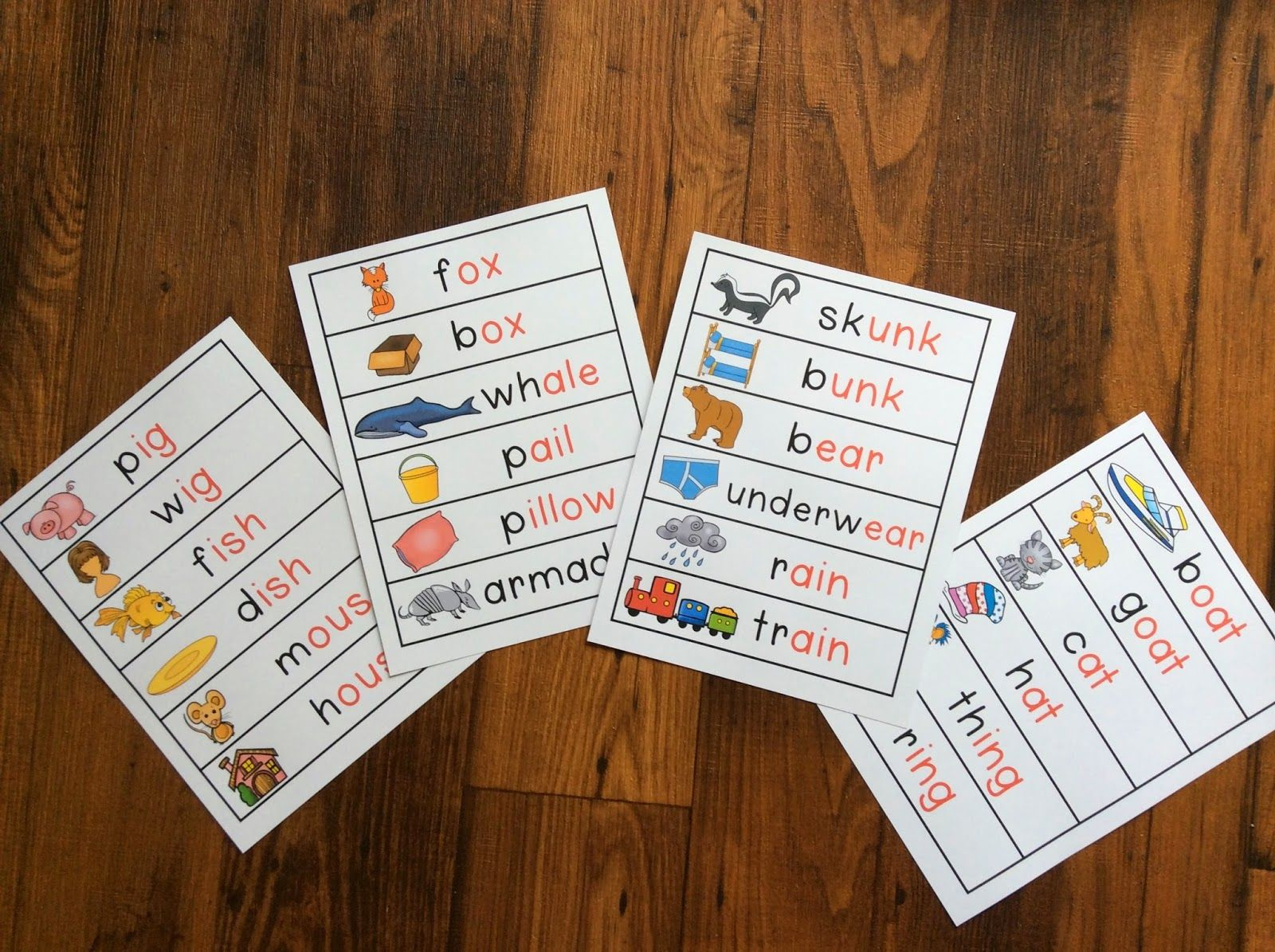 Kindergarten Blog Rhyming Pocket Chart Cards The Rime Is In Red The Onset Is In Black