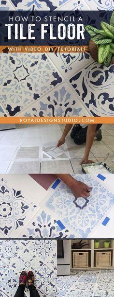 How to stencil a tile floor in 10 steps kitchen for Fliesenboden renovieren