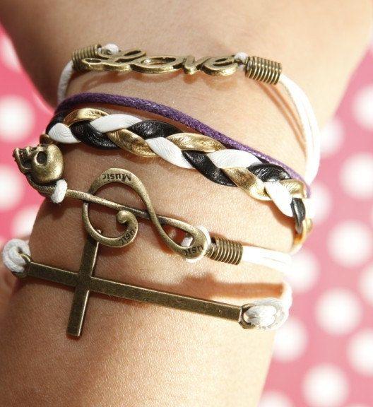 Bracelet  Bronze  Love Bracelet  Cross Bracelet by dohandmadework, [MUST HAVE]