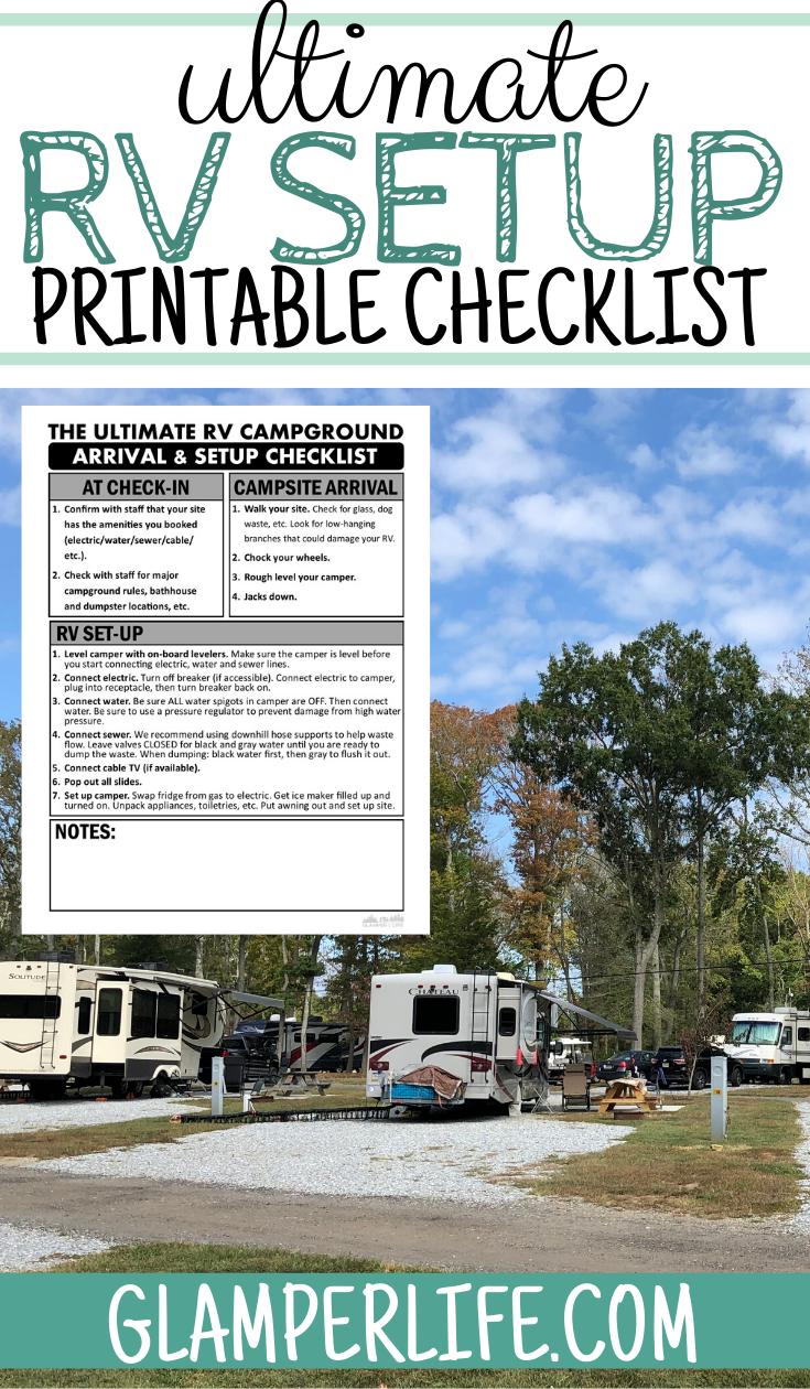 Free Printable Rv Campground Setup Checklist Campsite Setup Travel Trailer Camping Rv Campgrounds