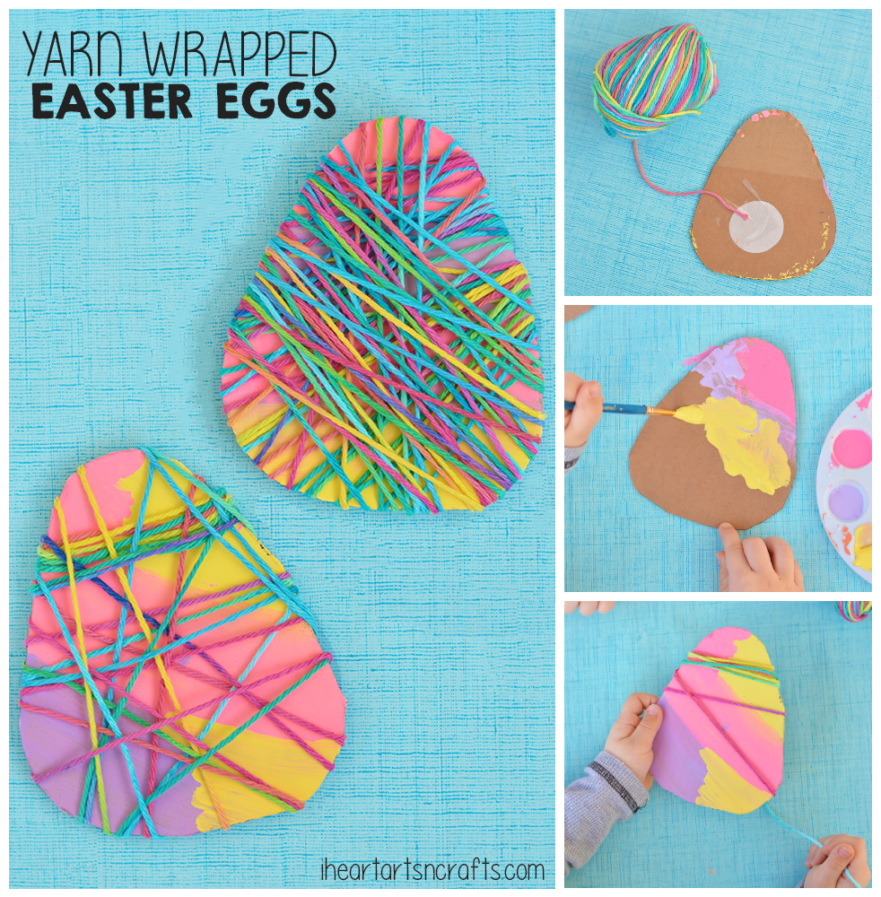 yarn wrapped easter egg craft for kids egg crafts easter and yarns