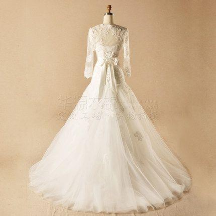 并蒂花开~2014新款时尚新娘 复古显瘦蕾丝长袖一字肩鱼尾婚纱拖尾