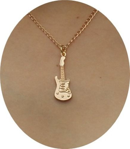Gold guitar pendant 16 choker short necklace gift for girls kids gold guitar pendant 16 choker short necklace gift for girls kids fashion jewelry aloadofball Choice Image