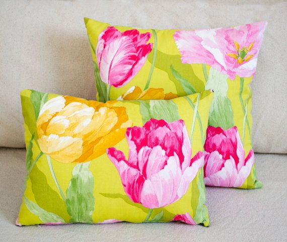 Pink Flower Pillow Green Throw Pillow Tulip Fabric Cotton Pillowcases Couch Pillows Pink Cushion Green An Green Throw Pillows Flower Pillow Pink Cushions